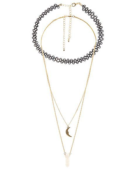 Celestial Tattoo Choker & Chain Necklaces - 3 Pack: Charlotte Russe. #necklace #celestial #choker