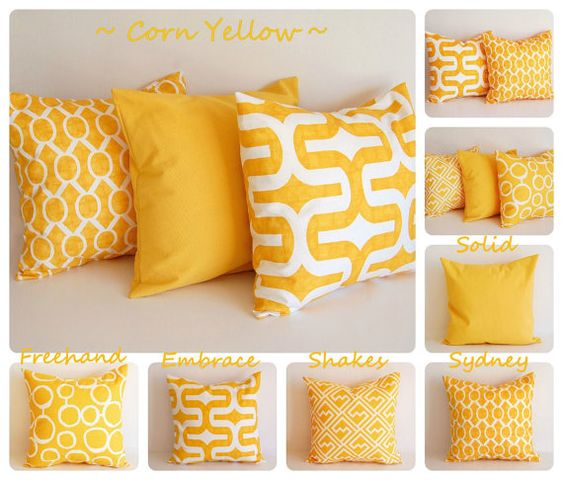 Yellow pillow cover 16 x 16 One cushion cover by ThePillowPeople
