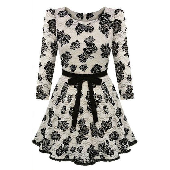 Choies Beige Floral Lace Long Sleeve Skater Dress (¥5,280) ❤ liked on Polyvore featuring dresses, vestidos, multi, floral dress, black dress, long sleeve dress, long sleeve black dress and lace dress