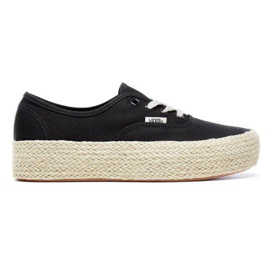 Authentic Platform Espadrille Shoes | Black | Vans ...