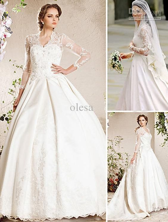 Elegant A-line Sweetheart Chapel Train Beading Buttons Lace Satin Luxurious Wedding Dress Inspired By Kate Middleton #00275696 Online with $165.03/Piece on Olesa's Store | DHgate.com