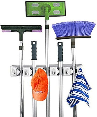 Home- It Mop and Broom Holder, Holds up to 11 Tools,superior Quality Tool Rack Holds Mops, Brooms, or Sports Equipment and Storage Tool Rack Storage & Organization for the Home Plastic Hanger for Closet Garage Organizer Shed Organizer Basement Storage