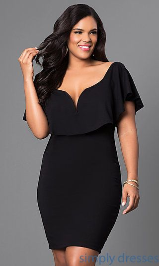 Plus Size Cocktail Dress with Draped Collar