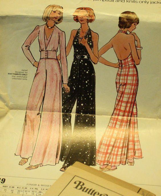 butterick 3149 1970s 70s hippie jumpsuit sewing pattern size 12 bust 34 overalls 1970er und. Black Bedroom Furniture Sets. Home Design Ideas