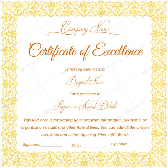 16 best Certificate of Excellence templates images on Pinterest - microsoft certificate of excellence