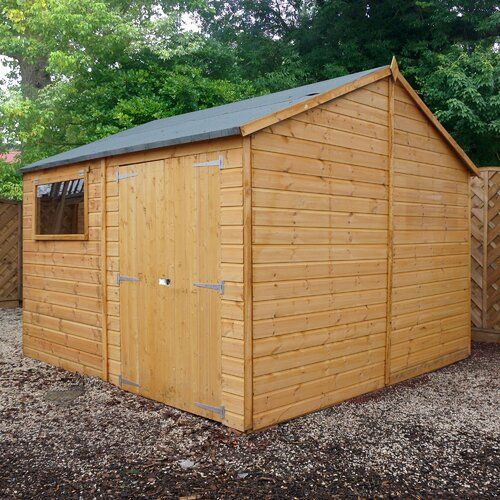 Premium 10 Ft W X 10 Ft D Shiplap Reverse Apex Wooden Shed Sol 72 Outdoor Installation Included No In 2020 Shiplap Cladding Shed Homes Apex Roof