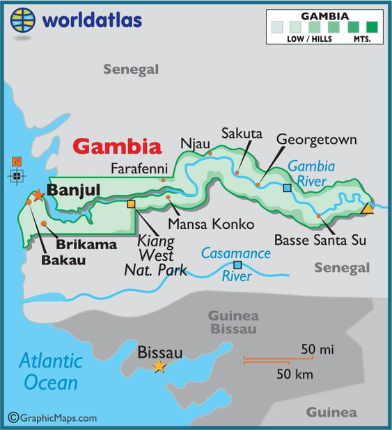 Gambia Also known as The Gambia Maps and Flags Pinterest