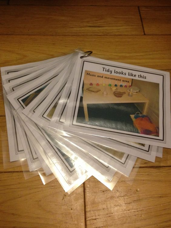 """""""Tidy looks like this"""" cards to help children tidy the areas"""