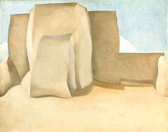 Georgia O'Keeffe, Ranchos Church No. 1, 1929. Oil on canvas; 18-3/4 x 24 in.  Collection of the Norton Museum of Art, West Palm Beach, Florida; Purchase the R.H. Norton Trust.