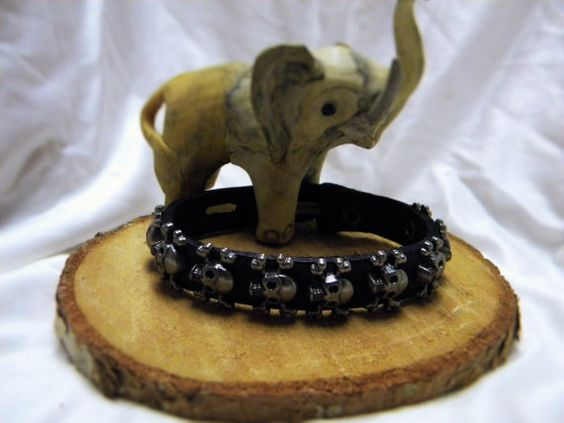 Born To Ride Leather Skull Wristband by CreationsbyDreamLady