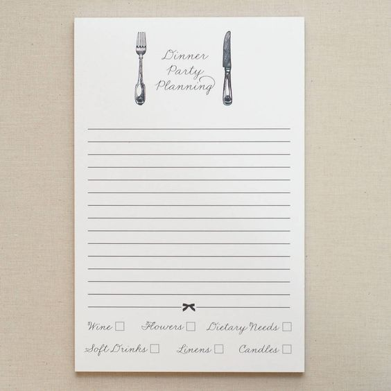 dinner party notepad by fraser & parsley   notonthehighstreet.com