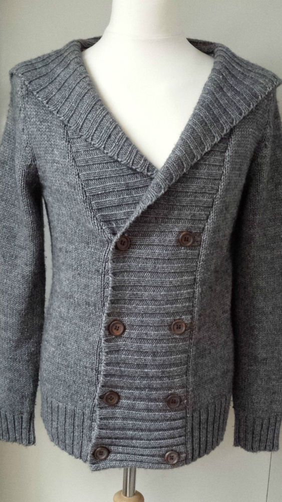 TOPMAN Chunky Jumper Cardigan Hooded Wool Blend Size S Mens Cardie Winter Warmer