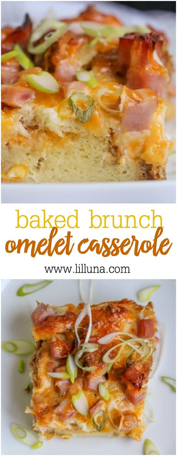 Baked Brunch Omelet Casserole - filled with eggs, cheese and ham - the ...