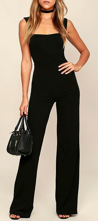 With a chic blazer, leather jacket, or coat, there's no end to how you could style the Enticing Endeavors Black Jumpsuit! This sleeveless jumpsuit is made from lightly textured knit with a squared-off neckline, and seamed bodice. High-waisted pant legs fall to a classic wide cut. #lovelulus