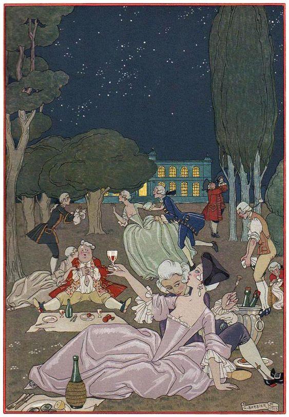 Georges Barbier (1882-1932) — 'Les Fêtes Galantes' by Paul Verlaine, 1923 (652×941):