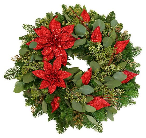 "20""+Poinsettia+Wreath,+Dried+
