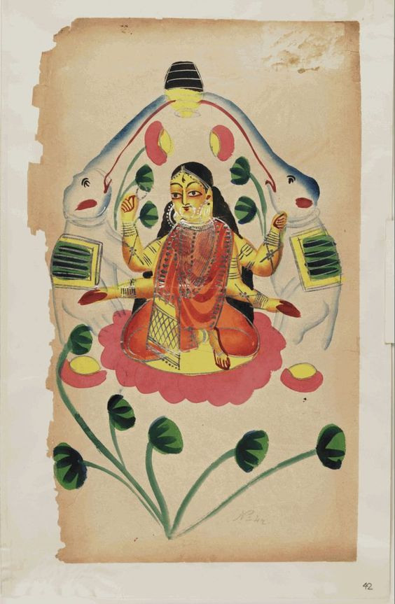Kalighat paintings - Lakshmi