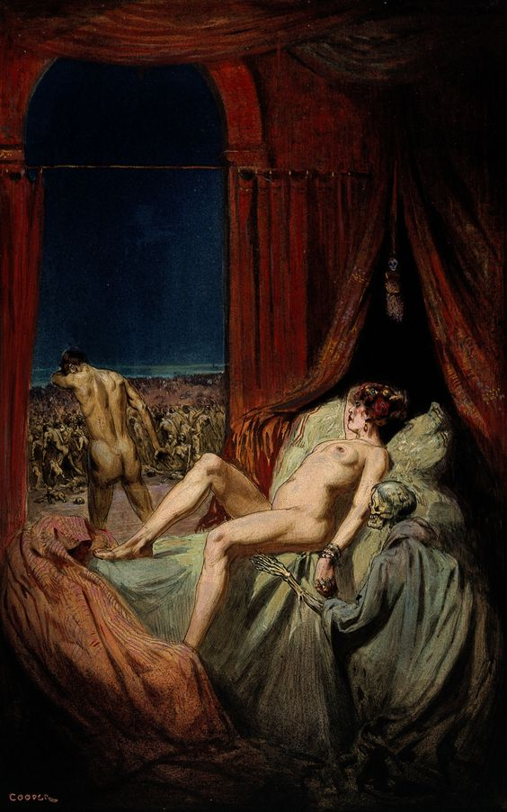A_provocative_naked_young_woman_lying_on_a_bed,_death_(a_clo_Wellcome_V0017057.jpg (JPEG Image, 2156×3450 pixels)