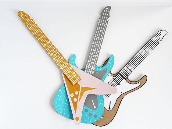 how to make a guitar for your rockstar diy cardboard guitar and diy and crafts. Black Bedroom Furniture Sets. Home Design Ideas