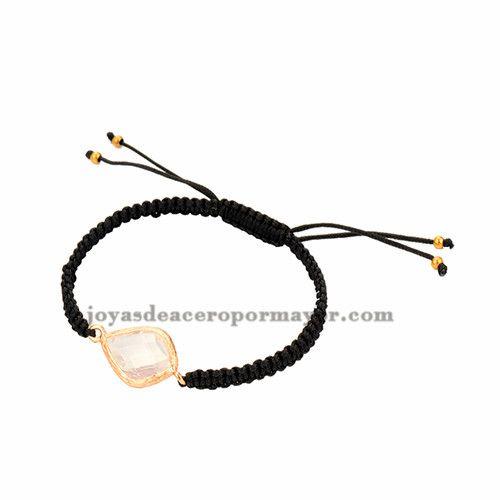 pulseras tejidas moda en color negro con piedra para mujer ACBTG00014