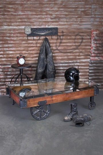 Rustic Vintage Furniture Wood Glass Cart Coffee Table Brown Railroad Cart Coffee Table