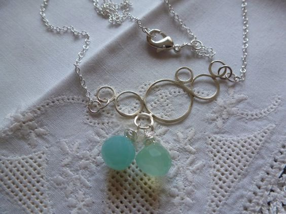 Chalcedony Necklace Sterling Silver Bubble by CurranStudios, $24.00