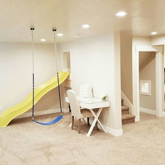 Cool Things To Put In A Basement: Basement Ideas, Bright Basement, Slide In Basement, Swings