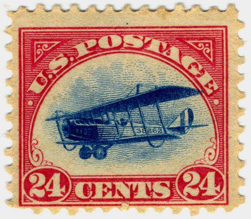 """Sello de correo aéreo """"Jenny"""" sello de correo aéreo a partir de 1918."""