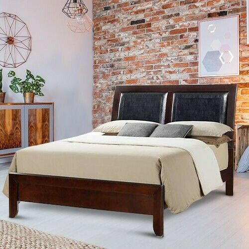 Queen Size Platform Bed Frame With Headboard Wood Black