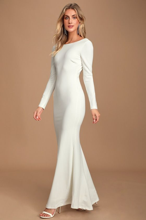 Vision Of Delight White Backless Mermaid Maxi Dress White Maxi Dresses White Long Sleeve Dress Maxi Dress With Sleeves