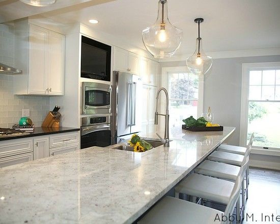 Kitchen Design, Transitional Kitchen Design With Long Kitchen Island With  Colonial White Granite Countertop Also