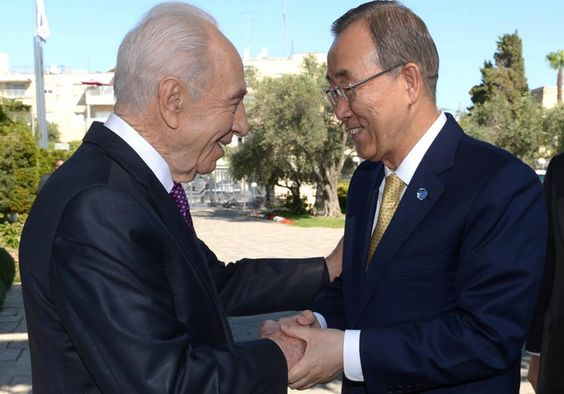 President Peres and UN Secretary General Ban Ki Moon Photo By: Mark Neiman/GPO