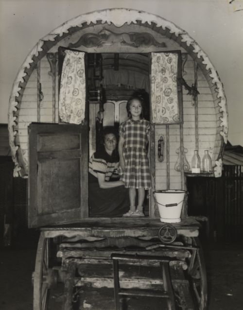 Margaret Taylor and her mother Phyllis standing in the doorway of a gypsy caravan, taken in July 1956 by Ralph