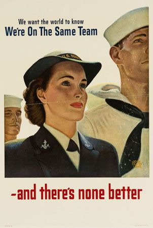Recruiting poster for the U.S. Navy WAVES (Women Accepted for Volunteer Emergency Service) during world War II. Illustration by John Falter, 1943.