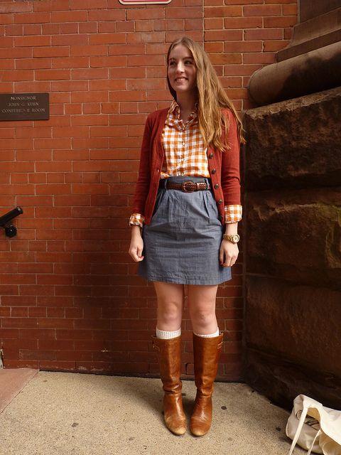 Denim skirt brown boots – Cool novelties of fashion 2017 photo blog