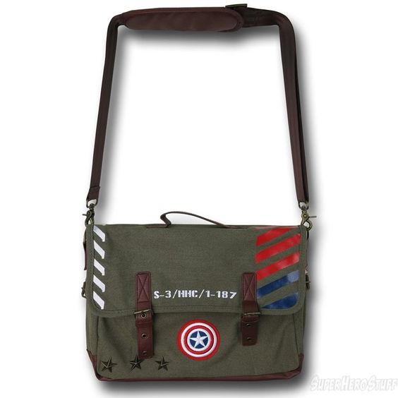Images of Captain America Military Green Canvas Messenger Bag