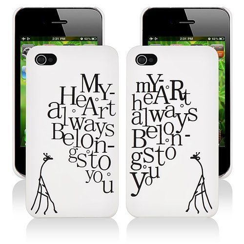 CommonByte 2x Heart Pattern For IPhone 4 4G 4S Hard Case Skin Couple Lovers Valentine's Day