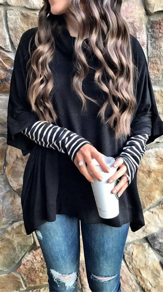 cute outfit _ black oversized top   stripped top   rips