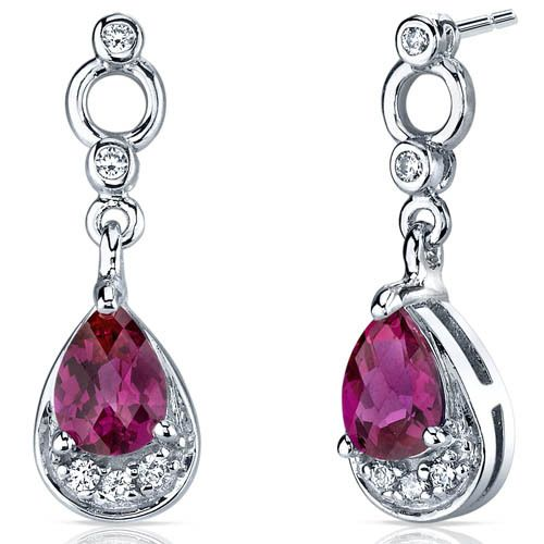 Peora.com - 1.5 cts Pear Cut Ruby Sterling Silver Earrings SE7148, $29.99 (http://www.peora.com/simply-classy-1-50-carats-ruby-dangle-earrings-in-sterling-silver-style-se7148/)
