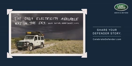 "#AdoftheWeek 1 July 2015: ""The Land Rover legacy #CelebrateDefender."" #CelebrateDefender electricity."