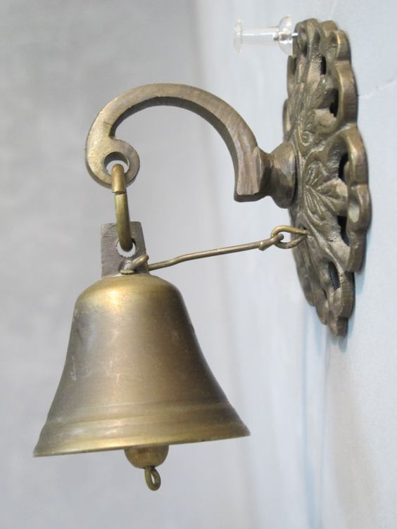 Vintage brass door bell country store doorbell antique for Door open chime