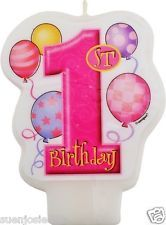 My 1st Birthday Balloons Pink Candle Cake Decoration