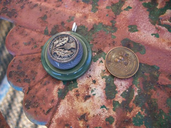vintage antique button pendant gray and by Suddendeersighting, $18.00