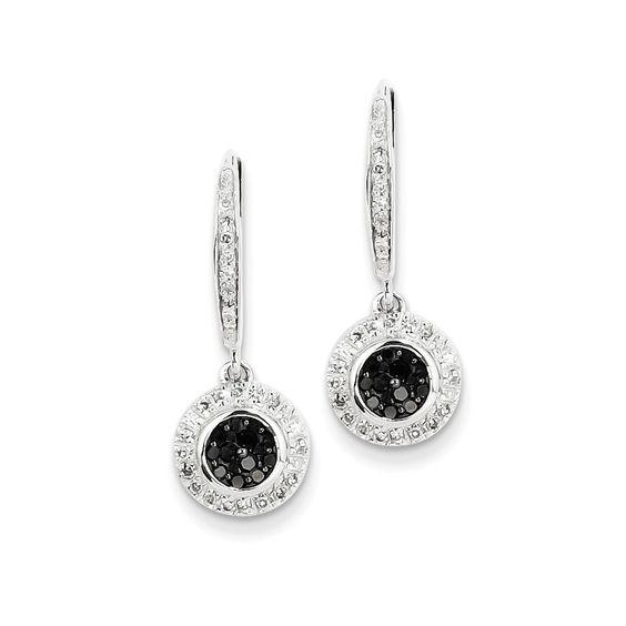 14k White Gold w/ Black and White Diamond Leverback Earrings