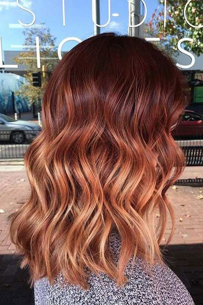 13 Red Hairstyles On Fire This Fall | Wavy Red Ombre | Hairstyleonpoint.com