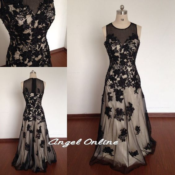 Black Evening Dresses.Sheer See Through Sexy by Angelonlinedress