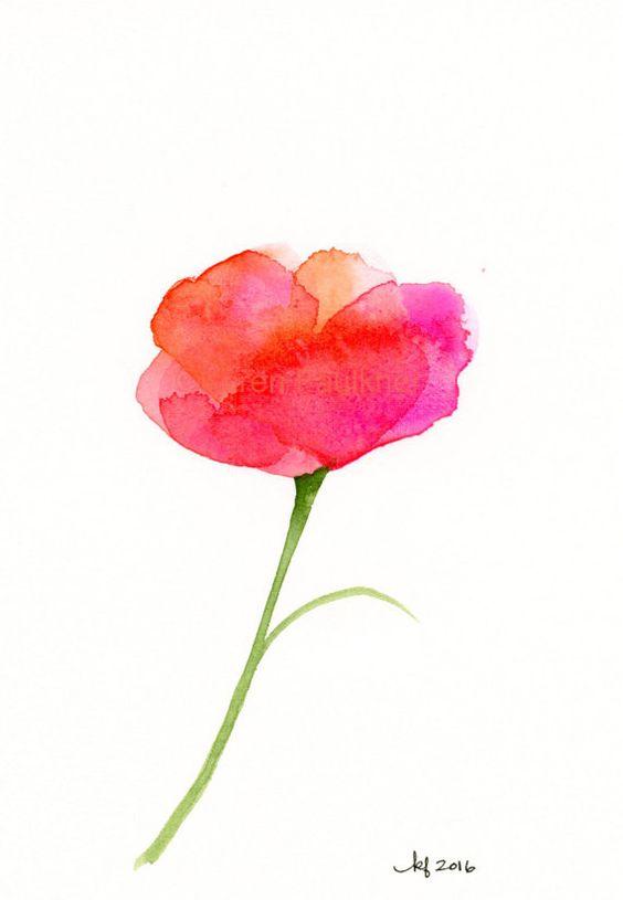 Acuarela original de una flor abstracta: por KarenFaulknerStudio