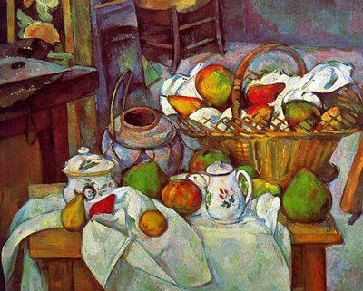Paul Cezanne (January 19, 1839 - October 22, 1906) was a French artist and Post-Impressionist painter whose work laid the foundations of the transition from the 19th century conception of artistic endeavour to a new and radically different world of art in the 20th century.  He used planes of colour and small brushstrokes that build up to form complex fields, at once both a direct expression of the sensations of the observing eye and an abstraction from observed nature.:
