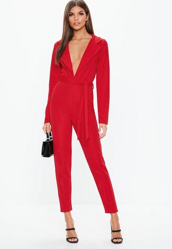 Missguided - Red Tie Waist Blazer Jumpsuit