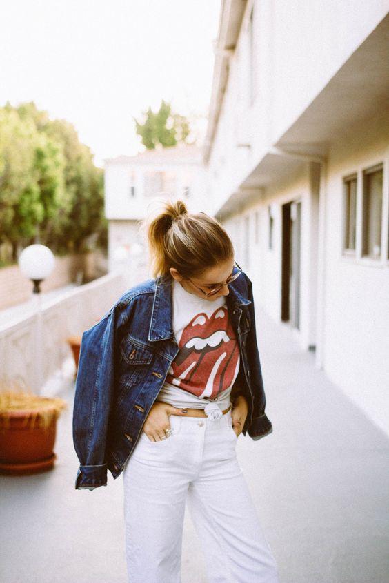 Nostalgia #outfit #graphic #tee #culotte #white #denim #jeans #rollingstones #denimjacket #vintage #zara #brandymelville #photography #style #inspiration #blog  https://www.instagram.com/emma_hentzen/